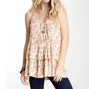Free People | Floral Print Babydoll Tunic Tank Top